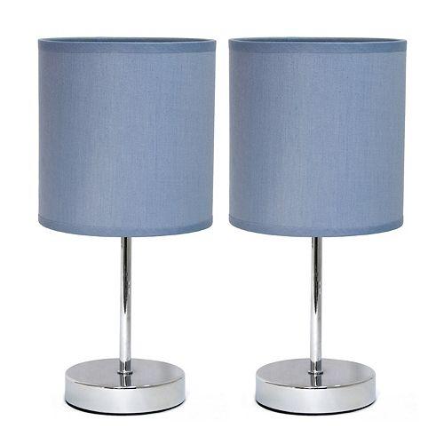 11 pouces Mini lampe de table de base chromée avec abat-jour en tissu violet 2 ensembles