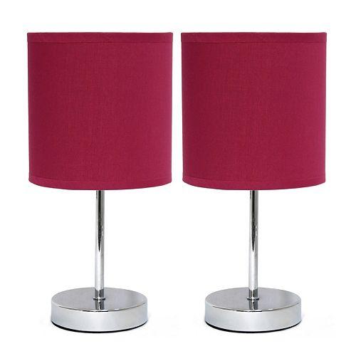 11 pouces Mini lampe de table de base chromée avec abat-jour en tissu du vin 2 ensembles