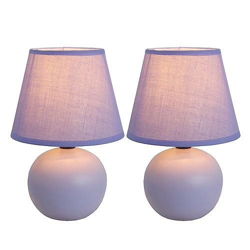 8.66 pouces violet Mini globe en céramique Lampe de table 2 paquets