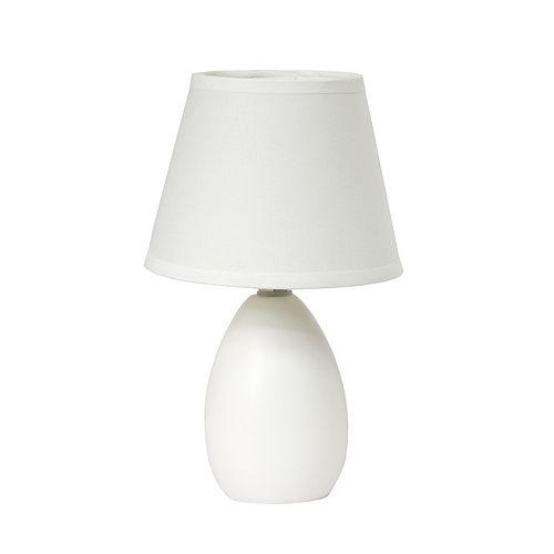 9.45 pouces Blanc Mini Oeuf Ovale Lampe de table en céramique