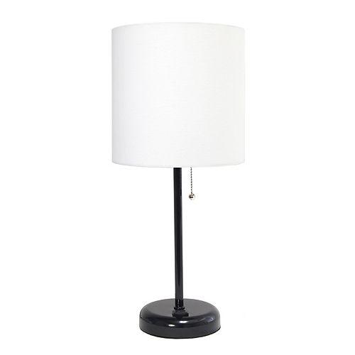 LimeLights 19.5 pouces Lampe bâton noire avec prise de charge et abat-jour en tissu