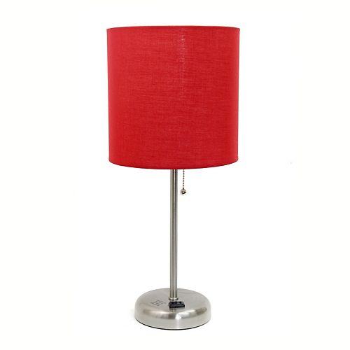 19.5 pouces Lampe bâton  avec sortie de charge et abat-jour en tissu rouge