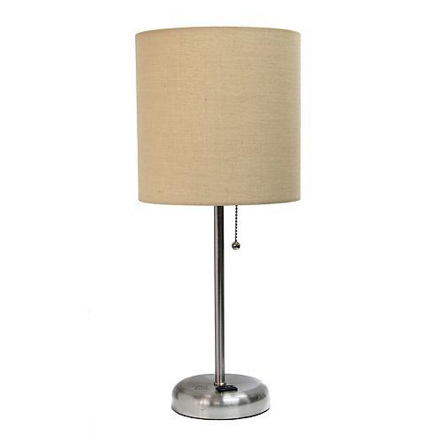 LimeLights 19.5 pouces Lampe bâton  avec sortie de charge et abat-jour en tissu bronzer