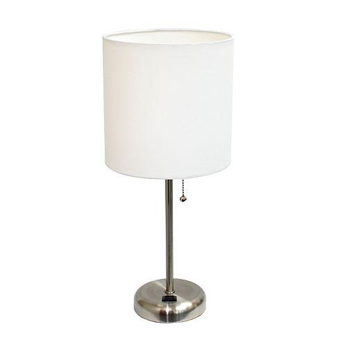 19.5 pouces Lampe bâton  avec sortie de charge et abat-jour en tissu blanc