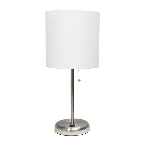 19.5 pouces Lampe bâton  avec port de chargement USB et abat-jour en tissu blanc