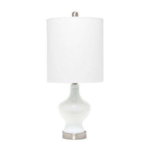 22.5 pouces Blanc / Lin Blanc Lampe de table