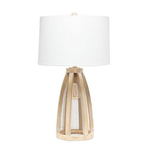 29.5 pouces Bois Naturel / Blanc Lampe de table