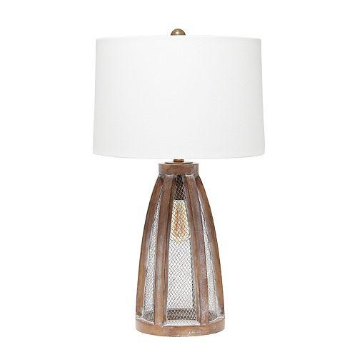 29.5 pouces Vieux Bois / Blanc Lampe de table