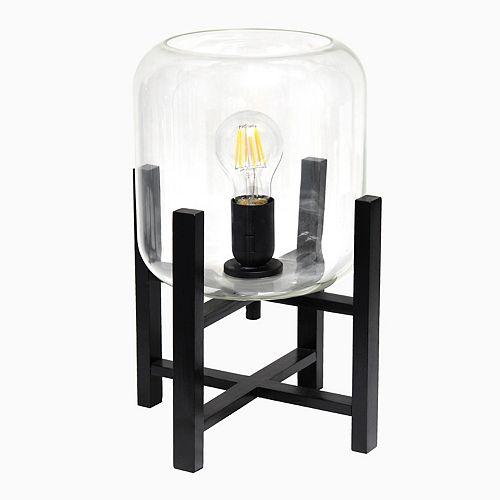 13.375 pouces Verre Noir et Clair Lampe de table
