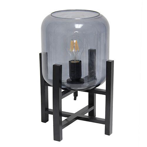 13.375 pouces Verre Noir et Fumé Lampe de table