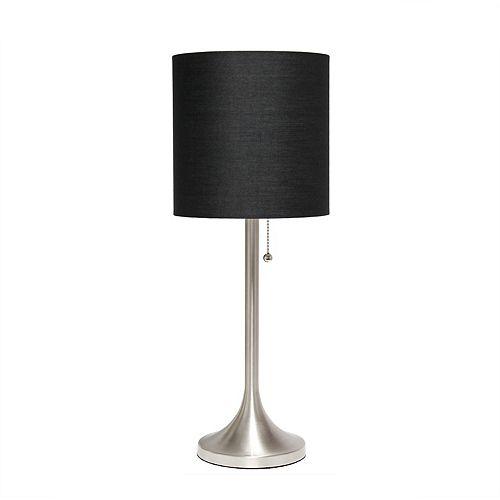 21 pouces Nickel Brossé et Noir Lampe de table