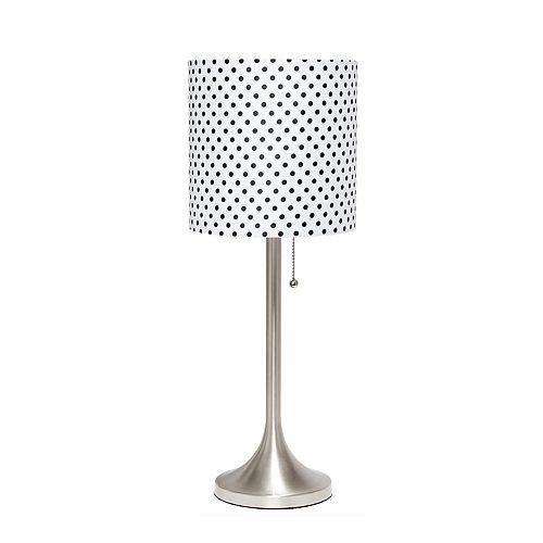 21 pouces Nickel Brossé et Point De Polka Lampe de table