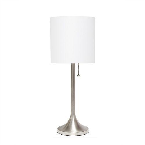21 pouces Nickel Brossé et Blanc Lampe de table