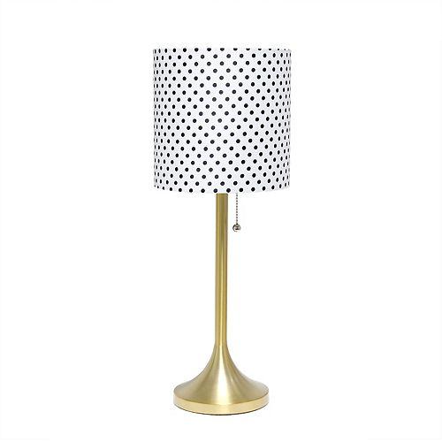 21 pouces Gold et Polka Dot Lampe de table