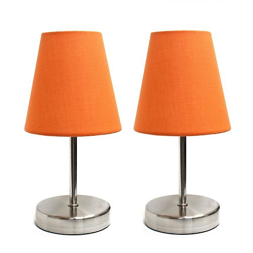 10.63 pouces Sable Nickel et Orange ensemble de lampe de table