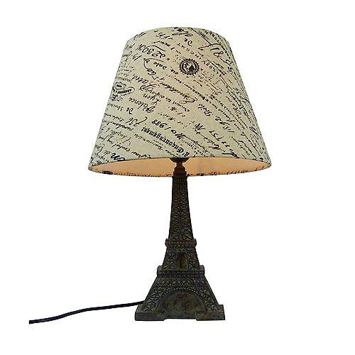 16.5 pouces Abat-Jour D'Écriture Français Brun et Blé Lampe de table