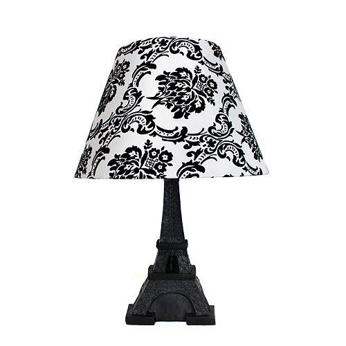 16.5 pouces Abat-Jour Noir et Damassé Lampe de table