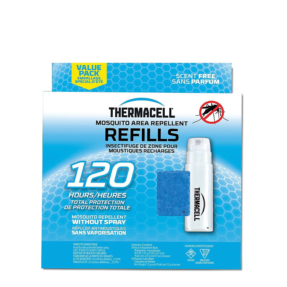 ThermaCELL Thermacell Original Mosquito Repellent Refills Covering a 4.5 m Protection Zone with 30 Repellent Mats and 10 Fuel Catridges and 120 Hour Usage
