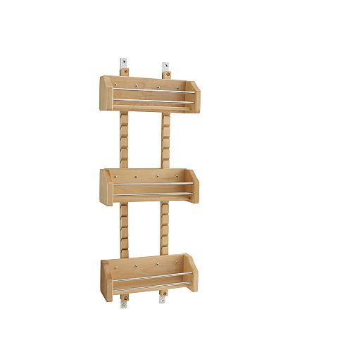 10 1/8 in (257 mm) Door Mount Wood Spice Rack with 3 adjustable shelves - Maple
