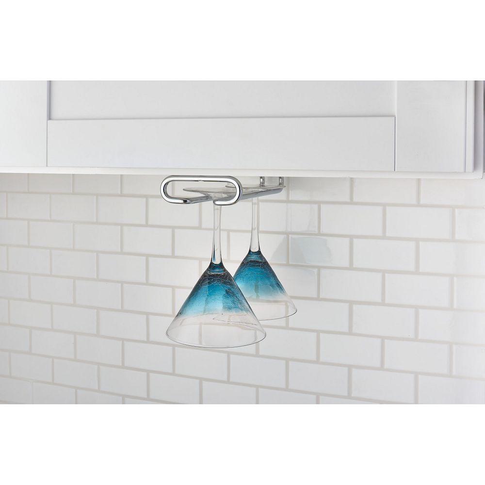 Rev-A-Shelf 16 inch (406 mm) Under Kitchen Cabinet Stemware Holder, Chrome