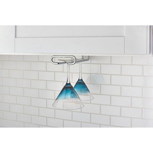 18 inch (457 mm) Under Kitchen Cabinet Stemware Holder, Chrome