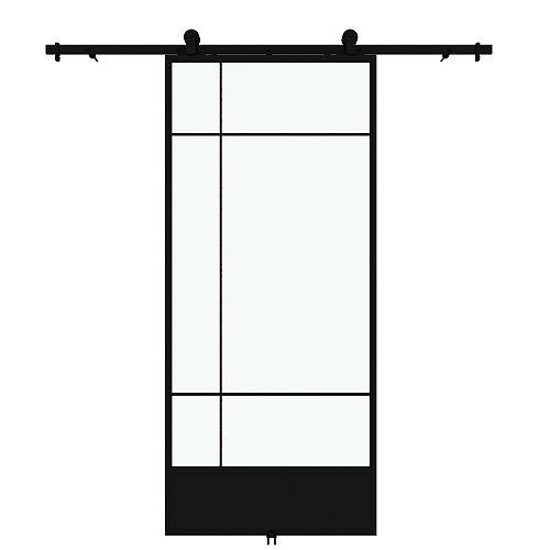 Porte de grange en métal en verre claire Bastille avec ensemble de quincaillerie d'installation