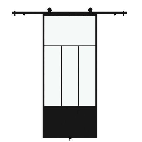 Porte de grange en métal en verre claire Division avec ensemble de quincaillerie d'installation