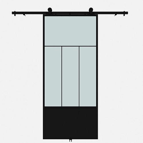 Porte de grange en métal en verre givré Division avec ensemble de quincaillerie d'installation