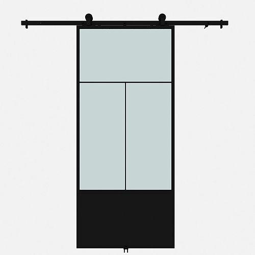 Porte de grange en métal en verre givré Nation avec ensemble de quincaillerie d'installation