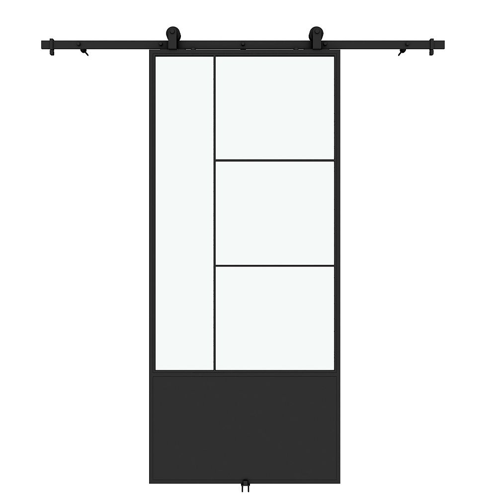 Colonial Elegance Opera Clear Glass Metal Barn Door With Installation Hardware Kit The Home Depot Canada