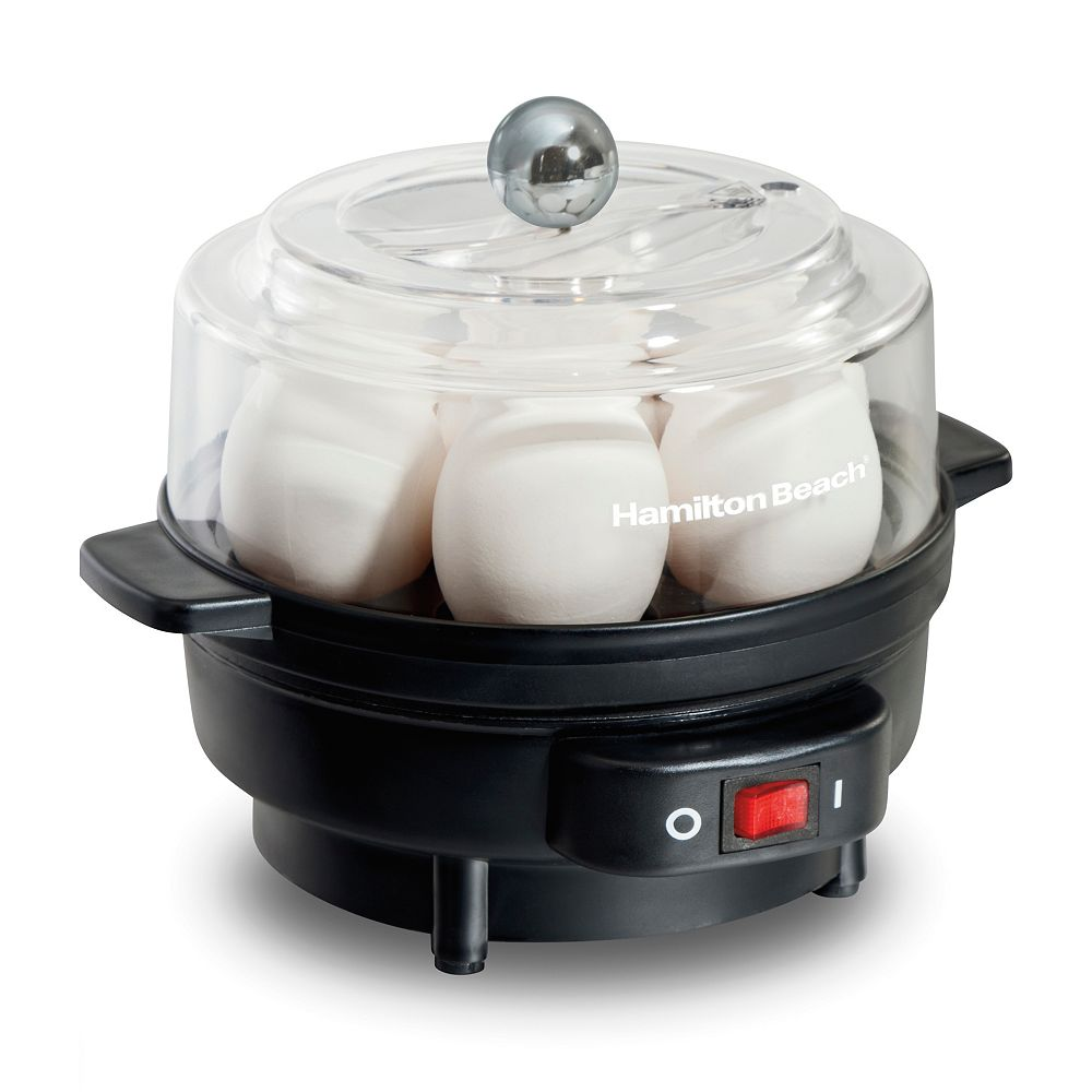 Hamilton Beach Egg Cooker with Built-In Timer and Poang Tray, 7 Eggs, Black 25500
