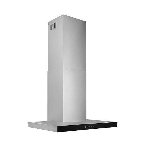 30 inch 450 CFM T-Style Chimney Range Hood in Stainless Steel with Black Glass