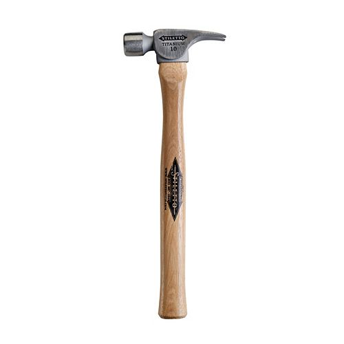 10 oz Titanium Smooth Face Finish Hammer with 16 -inch Straight Hickory Handle