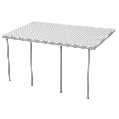 14 x 12 pi (4,26 x 3,65 m) Abri de terrasse plein, adossé, en aluminium blanc avec 4 poteaux