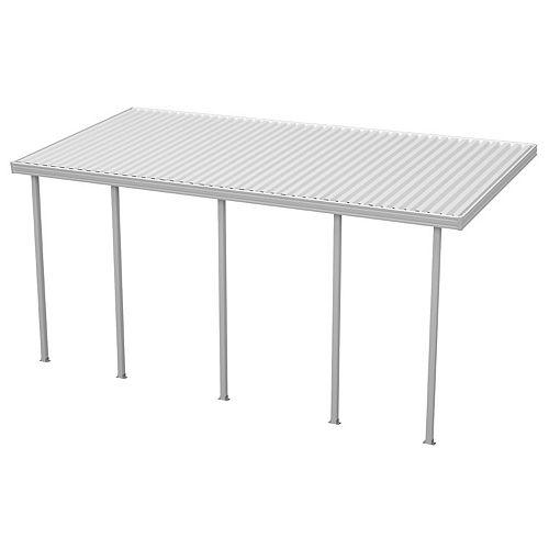 22 x 10 pi (6,70 x 3,04 m) Abri de terrasse plein, adossé, en aluminium blanc avec 5 poteaux