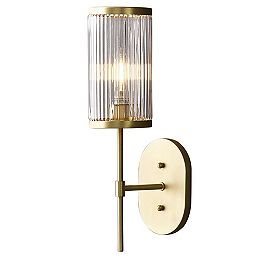 Ashbury 1-Light Wall Sconce With Reeded Clear Glass and Brushed Brass Finish
