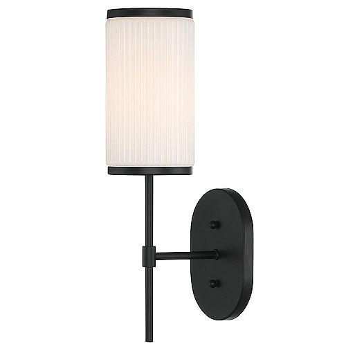 Ashbury 1-Light Wall Sconce With Reeded Milk Glass and Rich Black Finish