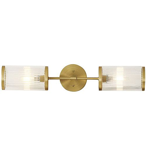 Ashbury 2-Light Bathroom Vanity Light Fixture With Reeded Clear Glass and Brushed Brass Finish