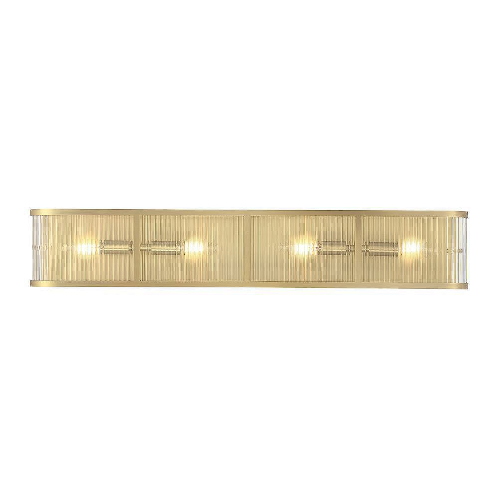 Glucksteinelements Ashbury 4 Light Bathroom Vanity Light Fixture With Reeded Clear Glass A The Home Depot Canada