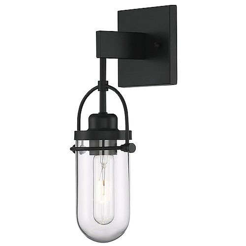 Lowell 1-Light Wall Sconce With Rich Black Finish