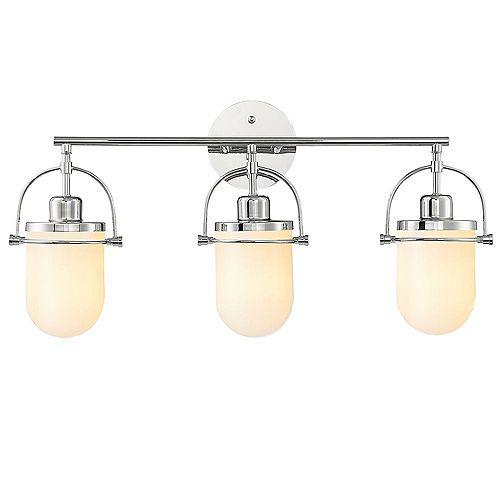 Lowell 3-Light Bathroom Vanity Light Fixture With Polished Nickel Finish