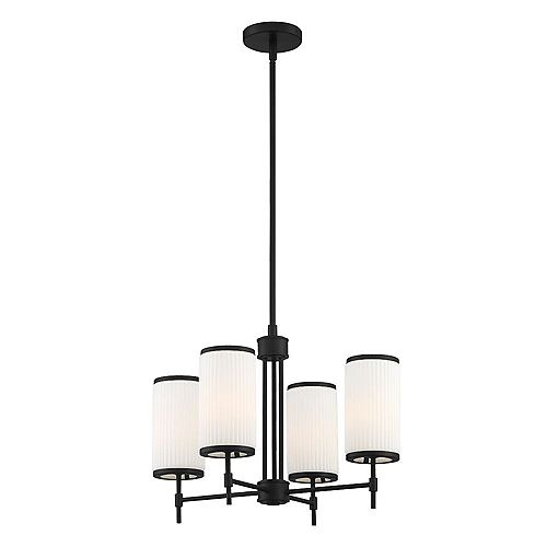Ashbury 4-Light Cylinder Pendant Chandelier with Reeded Milk Glass and Black Finish