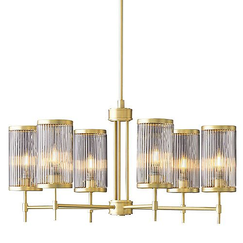 Ashbury 6-Light Cylinder Pendant Chandelier with Reeded Clear Glass and Brushed Brass Finish