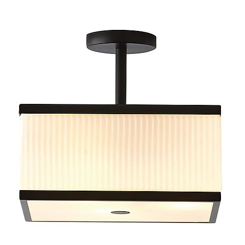 Ashbury 13-Inch 3-Light Square Flush Mount With Reeded Milk Glass and Rich Black Finish