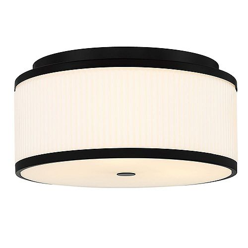 Ashbury 15-Inch 3-Light Round Flush Mount With Reeded Milk Glass and Rich Black Finish