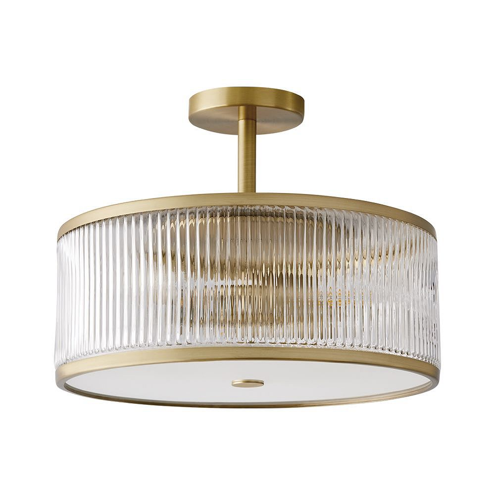 GlucksteinElements Ashbury 15 inch 3-Light Round Semi Flush Mount - Brushed Brass