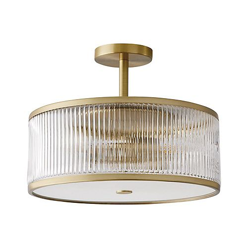 Ashbury 15-Inch 3-Light Round Flush Mount With Reeded Clear Glass and Brushed Brass Finish