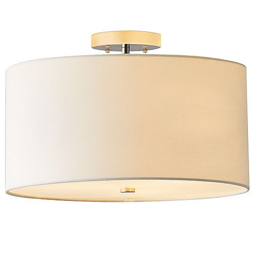 Dorset 16-Inch 3-Light Semi Flush Mount with White Linen Shade and Polished Nickel Finish