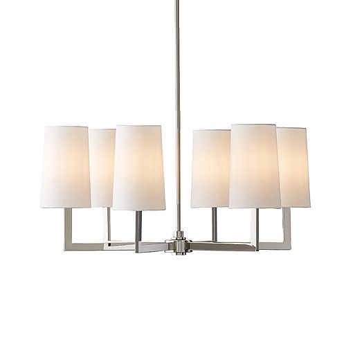 Dorset 6-Light Cylinder Pendant Chandelier with Linen Shade and Polished Nickel Finish