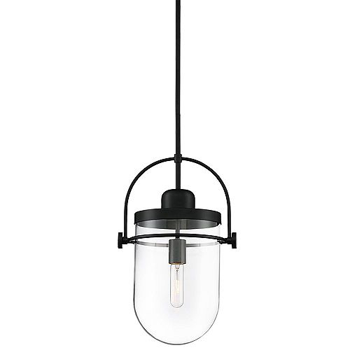 Lowell 10.75-inch 1-Light Pendant Chandelier with Clear Glass and Rich Black Finish